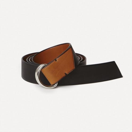 Berger rings in black and gold calfskin