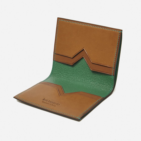 New double Valois S in gold calfskin and green kidskin lining