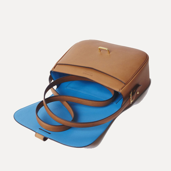 Rohan M gold calfskin, electric blue kidskin