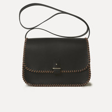 Rohan M in black calfskin, saumon & - black laced rope, 125cm large strap