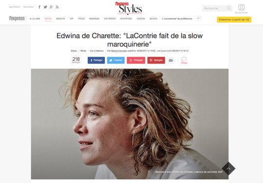 L'Express styles.fr, 16th June 2017